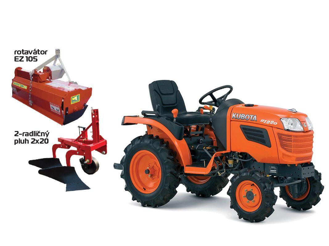 Traktor Kubota B1121 set rotavátor EZ105,pluh 2x20