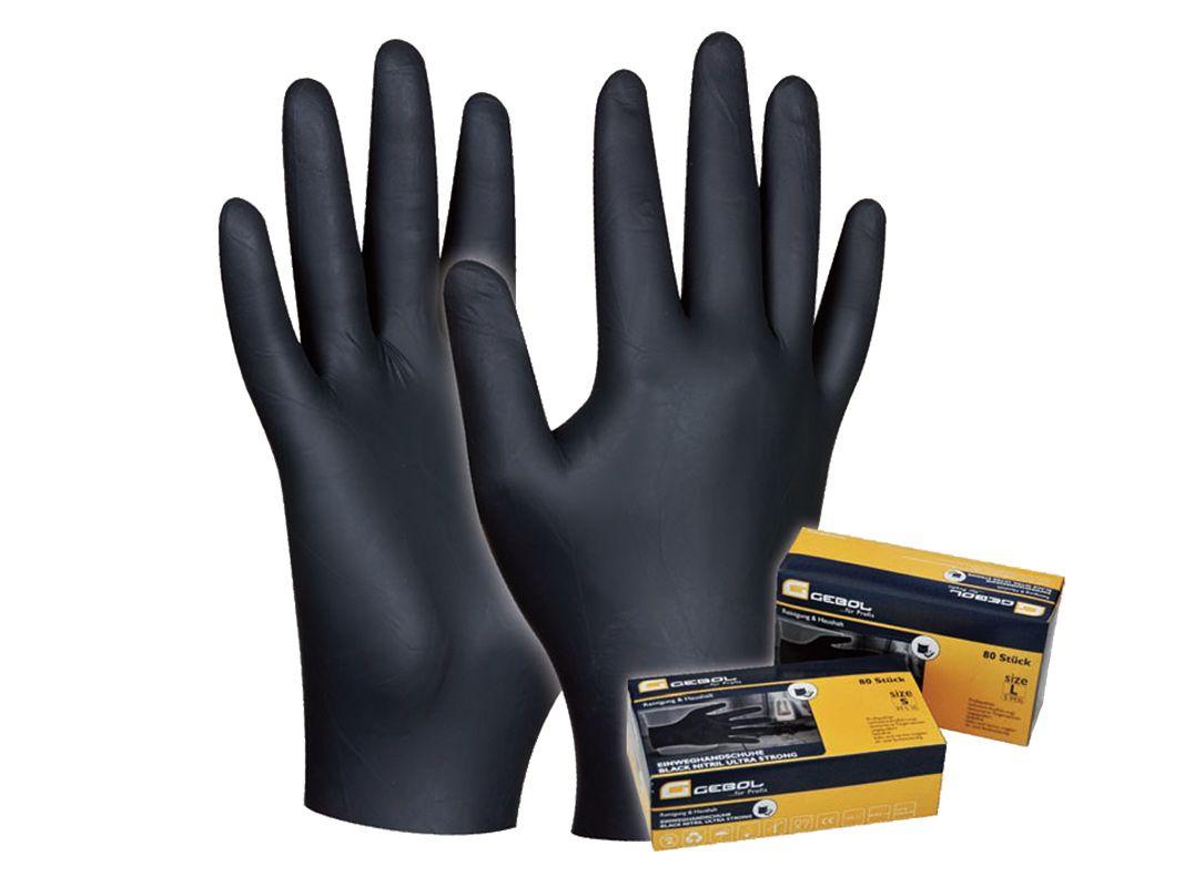 Pracovné rukavice GEBOL Black Nitril č. S - 80ks